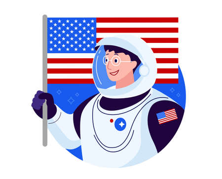 American astronaut with American flag - happy smiling USA astronaut in glasses  image illustration