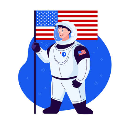 Happy spaceman character cartoon - flat style illustration - United States modern astronaut in glasses, smiling - flat style