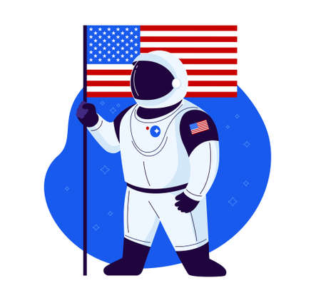 American astronaut stands with American flag in a new space suit ready to launch and proud of the USA space exploration - illustration in a flat trendy style isolated on white background