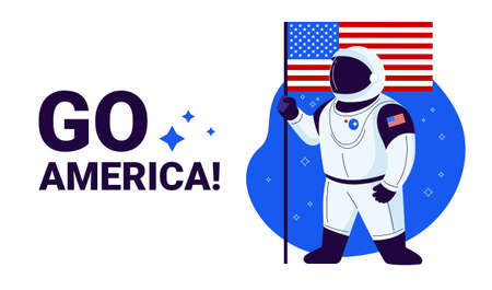USA astronaut ready to launch to space, United States flag and text Go America - illustration banner to celebrate USA space success