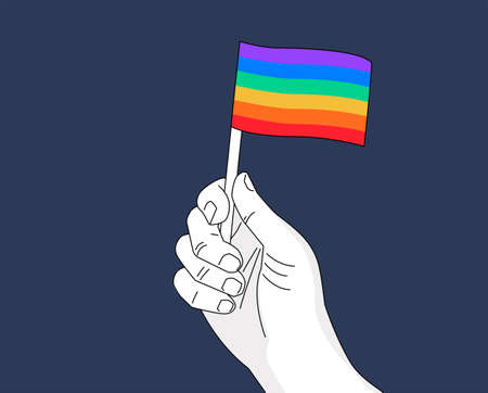 Pride rainbow flag in hand drawing. A hand waving rainbow flag -  illustration for pride month event celebration
