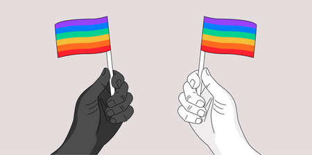 Two hands waiving rainbow flags - gay pride symbol - hand drawn  illustration for Pride month event - metaphor of people's civil equal rights