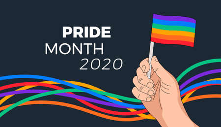 Pride month parade background - rainbow flag in hand and abstract colorful rainbow stripes waving on black background. Pride Month 2020 typography - illustration for pride month celebration