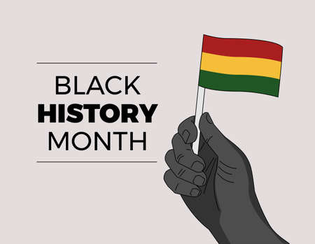 Black History Month - African independence leader hand waiving a flag - hand drawn Illustration for black history event  イラスト・ベクター素材
