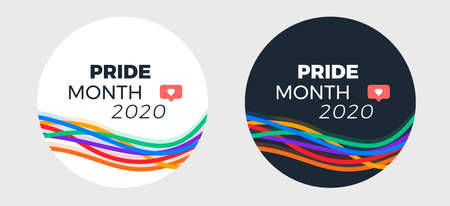 Pride month 2020 template for social media post - abstract colorful lines pride illustration