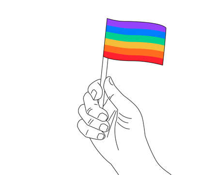 Pride month line art - A hand with rainbow flag gay pride symbol - hand drawn illustration for Pride events isolated on white background