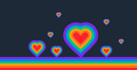 Pride abstract background with a rainbow flag and rainbow hearts on dark blue background - illustration