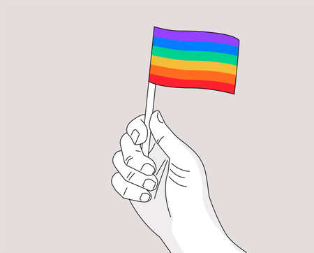 Pride month gay pride symbol - drawing hand waiving a rainbow flag - line art illustration for Pride gay event celebration