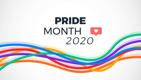 Pride month 2020 background with abstract colorful rainbow lines - illustration