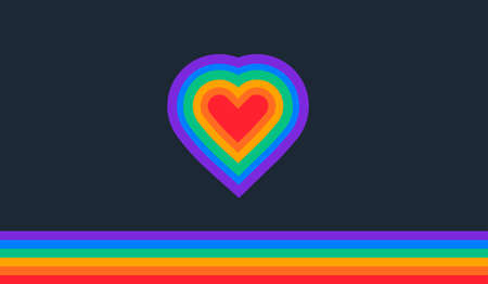 Pride abstract background with a rainbow flag and rainbow heart - illustration