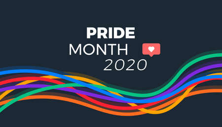 Pride month 2020 abstract colorful lines Illustration