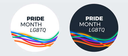 LGBTQ Pride month design for social media - typography text Pride Month LGBTQ on abstract modern colorful rainbow stripes background -  illustration