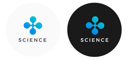 Blue logo design template for science and technology company - futuristic abstract dot logo in rhombus shape - vector business tech logo design