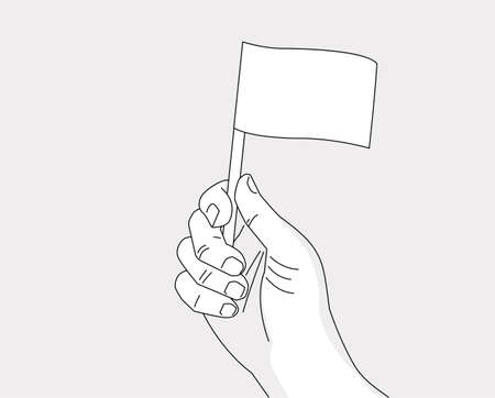 Hand holding flag - vector line art drawing template of a hand with a flag - no color, place your flag and color of skin