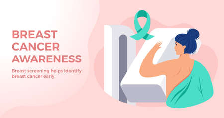 Breast Cancer Awareness Month banner. A woman receiving breast cancer tests, and cancer ribbon. Women health care vector illustration in flat style. Mammography concept