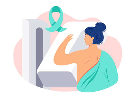Breast cancer awareness vector illustration. Woman patient getting a mammogram. Breast diagnosis, medical diagnostic equipment, cancer awareness ribbon