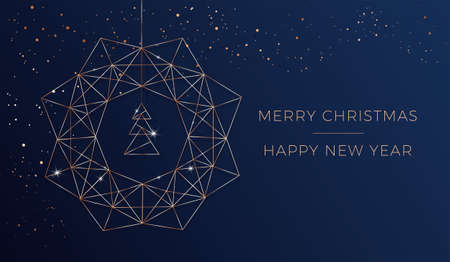 Merry Christmas and Happy New Year card - vector modern design template with abstract christmas wreath and christmas tree decorations. Geometric rose gold pattern Иллюстрация