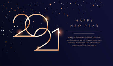 Luxury 2021 Happy New Year background. Golden design for Christmas and New Year 2021 greeting cards with New Year wishes of health and prosperity. Vector background in gold and dark blue black color