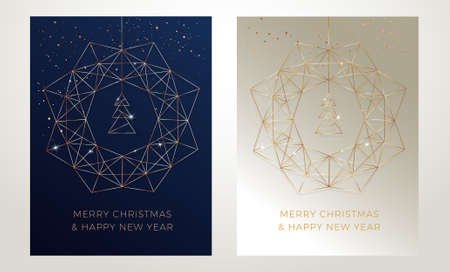 Christmas greeting cards design with stylized christmas wreath, christmas tree and snowflakes decoration. Elegant vector gold line art illustration on golden and dark blue abstract backgrounds