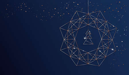 Christmas background with abstract stylized christmas tree and christmas wreath made of line art geometric shapes. Vector rose gold and dark blue background