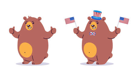 Bear character cartoon with thumbs up. Happy smiling brown bear mascot standing. Vector cartoon illustration in flat style