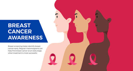 Breast Cancer Awareness Month USA banner. Women of different nationalities standing together to fight against breast cancer. Flat vector concept illustration for banner, poster, magazine, email cover