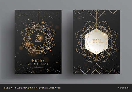 Christmas card gold and black background design. Stylized christmas wreath and christmas tree modern design. Elegant line art background template for Christmas cards, flyers, invitations Иллюстрация