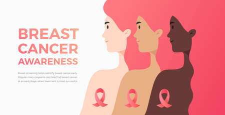 Background for Breast Cancer Awareness Month with text and women of different nationalities and cultures. Vector illustration great for banner, marketing email cover, magazine, brochure