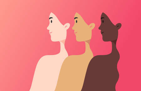 Women of different nationalities, cultures, and skin color strong together - unity concept - vector illustration banner in flat style, pink color beautiful gradient background