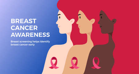 Hope Breast Cancer Awareness background with text. Women of different nationalities and skin color together for breast cancer prevention. Pink, blue background. Vector graphic, banner, poster, cover Иллюстрация