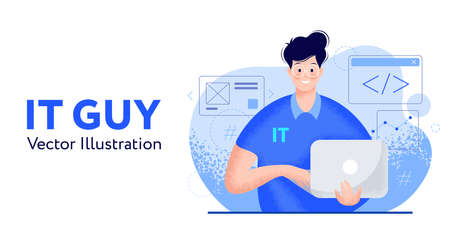 IT guy with laptop, a developer or designer or solution architect or tech consultant. Young happy smiling man in glasses with computer in hands, flat modern vector illustration, trendy grainy texture Иллюстрация