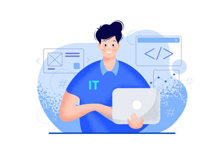 IT guy with a laptop vector modern illustration - blue color. Smiling young man portrait in glasses, a polo t-shirt, holding a computer in hands, coding icons. Tech person character flat illustration
