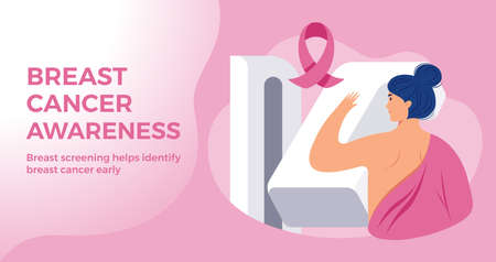 Breast Cancer Awareness month pink banner template - a woman at hospital breast cancer screening with a breast cancer pink ribbon on pink background. Vector illustration in flat style 矢量图像
