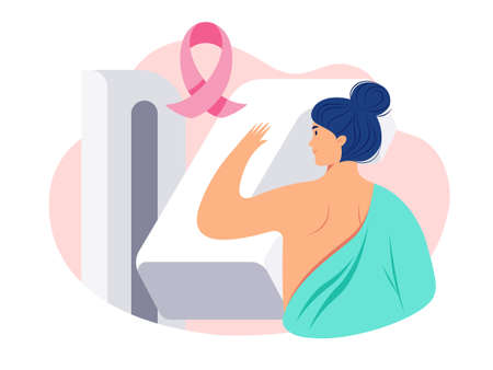 Breast Cancer Awareness illustration of a woman patient getting a breast screening test / mammogram on x-ray machine. Pink breast cancer ribbon, mammography exam to detect breast cancer early - vector
