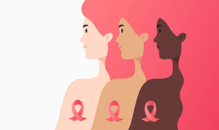 Flat illustration - women of different cultures together against cancer concept. Portrait of three different women and cancer ribbons isolated on white background Illustration