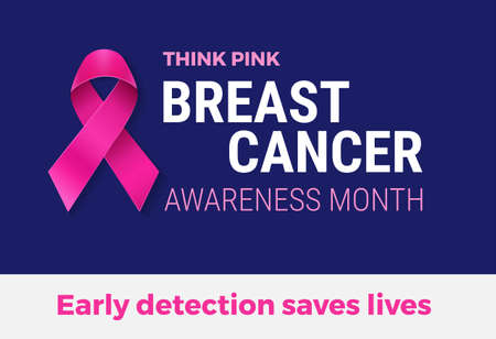 Breast Cancer Awareness Month banner template - pink ribbon on dark blue background, 'Think pink' and 'Early detection saves lives' text - vector illustration