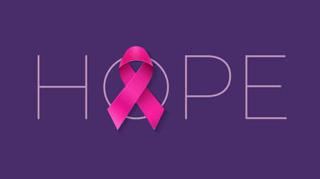 Hope lettering with pink ribbon - Breast Cancer Awareness Month design concept - vector illustration