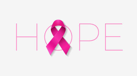 Hope typography with a pink ribbon for Breast Cancer Awareness Month poster or banner design - vector illustration isolated on white background Иллюстрация