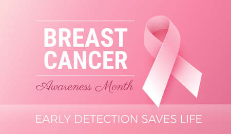 Breast Cancer Awareness Month. Calm pink color design with pink ribbon and motivational text - Early detection saves life. Vector illustration