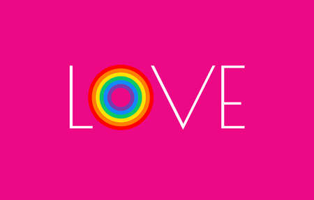 Pride pink background with rainbow flag love parade concept - love typography and pride rainbow vector illustration for pride month