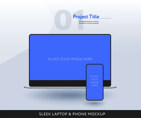 Sleek laptop and mobile phone mockup front view isolated - modern template vector illustration