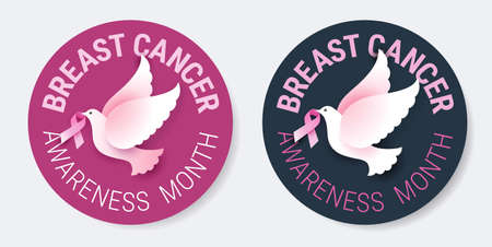 Breast Cancer Awareness pins for October month with pink ribbons and white flying doves of hope. Round shape, text, vector illustration