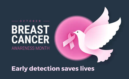 Breast Cancer Awareness October month template for awareness campaigns to encourage women take precautionary measures to prevent breast cancer. Early detection saves lives text. Vector illustration Иллюстрация
