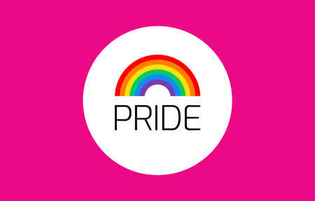 Pride pink background with rainbow flag - vector illustration for pride month, gay, lesbian event, pride festival