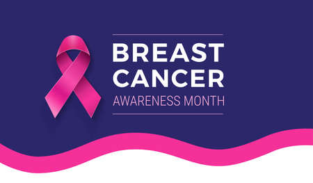 National Breast Cancer Awareness month banner template - pink ribbon, wave background, text Breast Cancer Awareness Month - vector illustration