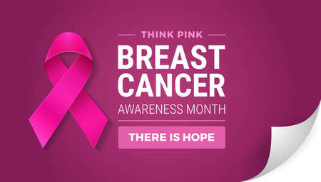 Breast cancer awareness month in october. Turn the page concept. Realistic pink ribbon symbol, Think pink and There is hope text on dark pink color background vector