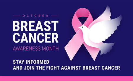 Breast Cancer Awareness month October. Vector conceptual illustration for Breast Cancer Awareness event poster or banner. Pink ribbon, white flying dove of hope, dark blue background Иллюстрация