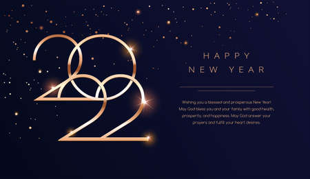 Luxury 2022 Happy New Year background. Golden design for Christmas and New Year 2022 greeting cards with New Year wishes of health and prosperity. Vector background in gold and dark blue black color Иллюстрация