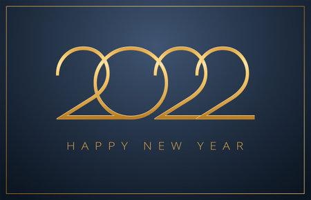 2022 New Year sleek design - golden 2022 numbers on elegant dark blue background - vector illustration