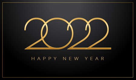 Luxury 2022 Happy New Year elegant design - vector illustration of golden 2022 logo numbers on black background - perfect typography for 2022 save the date luxury designs and new year celebration invitation